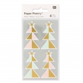 Stickers Paper Poetry Sapins 57 mm Pastel/Dor� x16