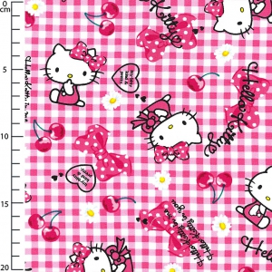 Tissu enfantin Sanrio Kiyohara - Hello Kitty Ribbon Cherry Rouge x10cm