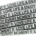 Lacet cuir Love life and enjoy every moment 5 mm Silver/Noir  x30cm