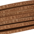 Lacet cuir Love life and enjoy every moment 5 mm Naturel x30cm