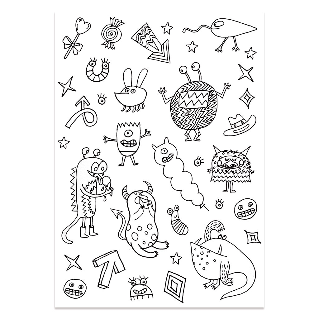 Stickers colorier colouring activity motifs monstre et insecte perles co - Monstre a colorier ...