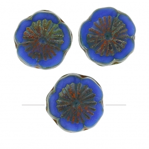 Perles en verre Hawaiian Flowers Beads 12 mm Opaque Blue Picasso x10