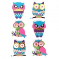 Planche de 6 stickers en 3D 45 mm Hibou Chouette Multicolore