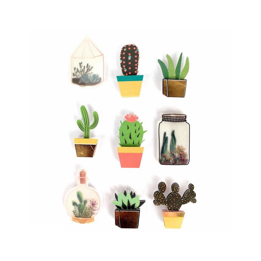 Planche De 9 Stickers En 3d 40 Mm Cactus Terrarium Perles Co