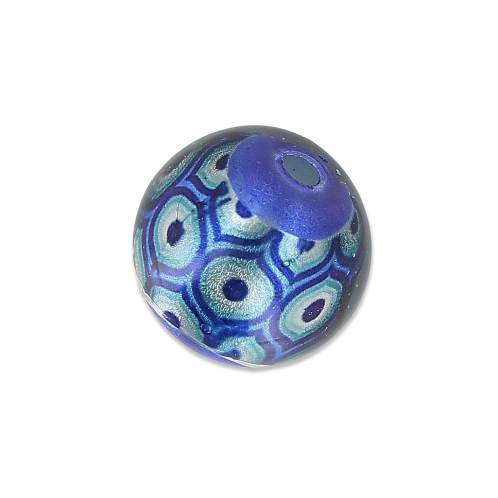 perle ronde s rigraphi e motif plume de paon 11 5 mm bleu silver x perles co. Black Bedroom Furniture Sets. Home Design Ideas