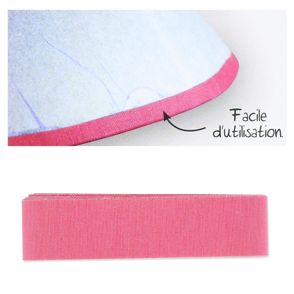 biais en tissu adh sif pour contour d 39 abat jour 16 mm rose. Black Bedroom Furniture Sets. Home Design Ideas
