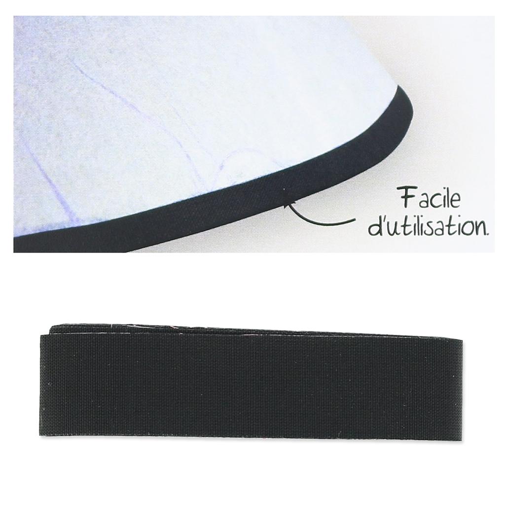 biais en tissu adh sif pour contour d 39 abat jour 16 mm noir. Black Bedroom Furniture Sets. Home Design Ideas