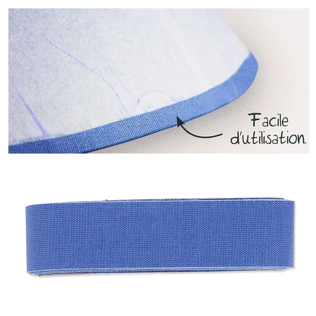 biais en tissu adh sif pour contour d 39 abat jour 16 mm bleu. Black Bedroom Furniture Sets. Home Design Ideas