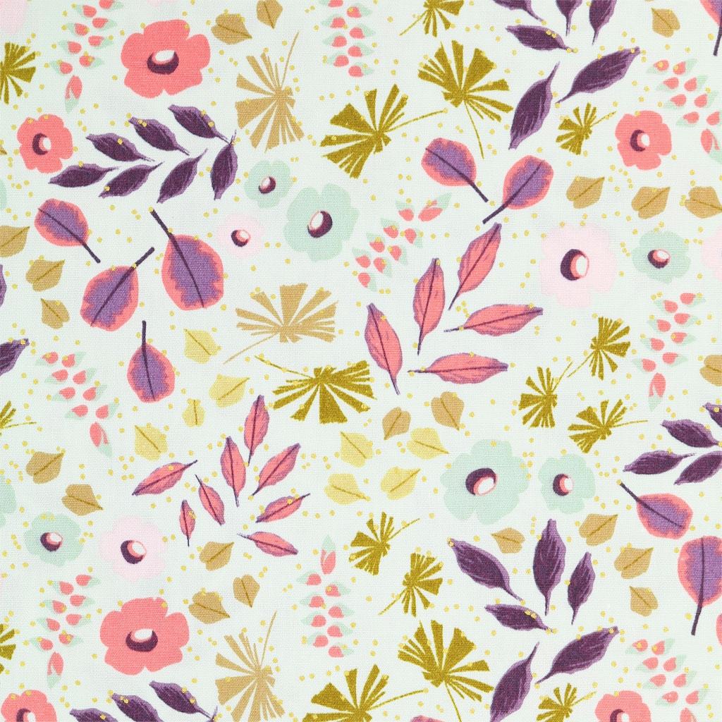 Tissu Bouquet Sauvage Fleurs Feuillages Menthe Or X10cm