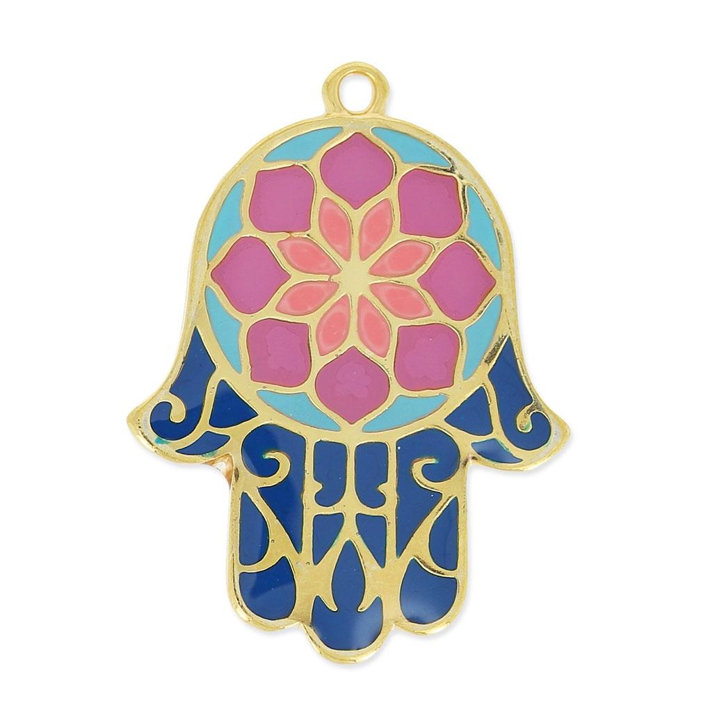pendentif main de fatma r sine poxy 30 mm violet bleu marine dor perles co. Black Bedroom Furniture Sets. Home Design Ideas