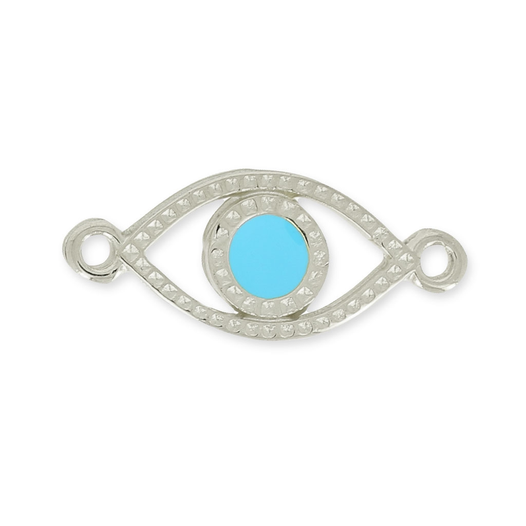 intercalaire oeil porte bonheur 2 anneaux 20mm turquoise argent v perles co. Black Bedroom Furniture Sets. Home Design Ideas