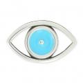 Intercalaire oeil porte-bonheur évidé 25 mm Turquoise/argenté vieilli x1