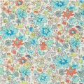 Tissu Liberty - Aloha Betsy Turquoise/Coral x10cm