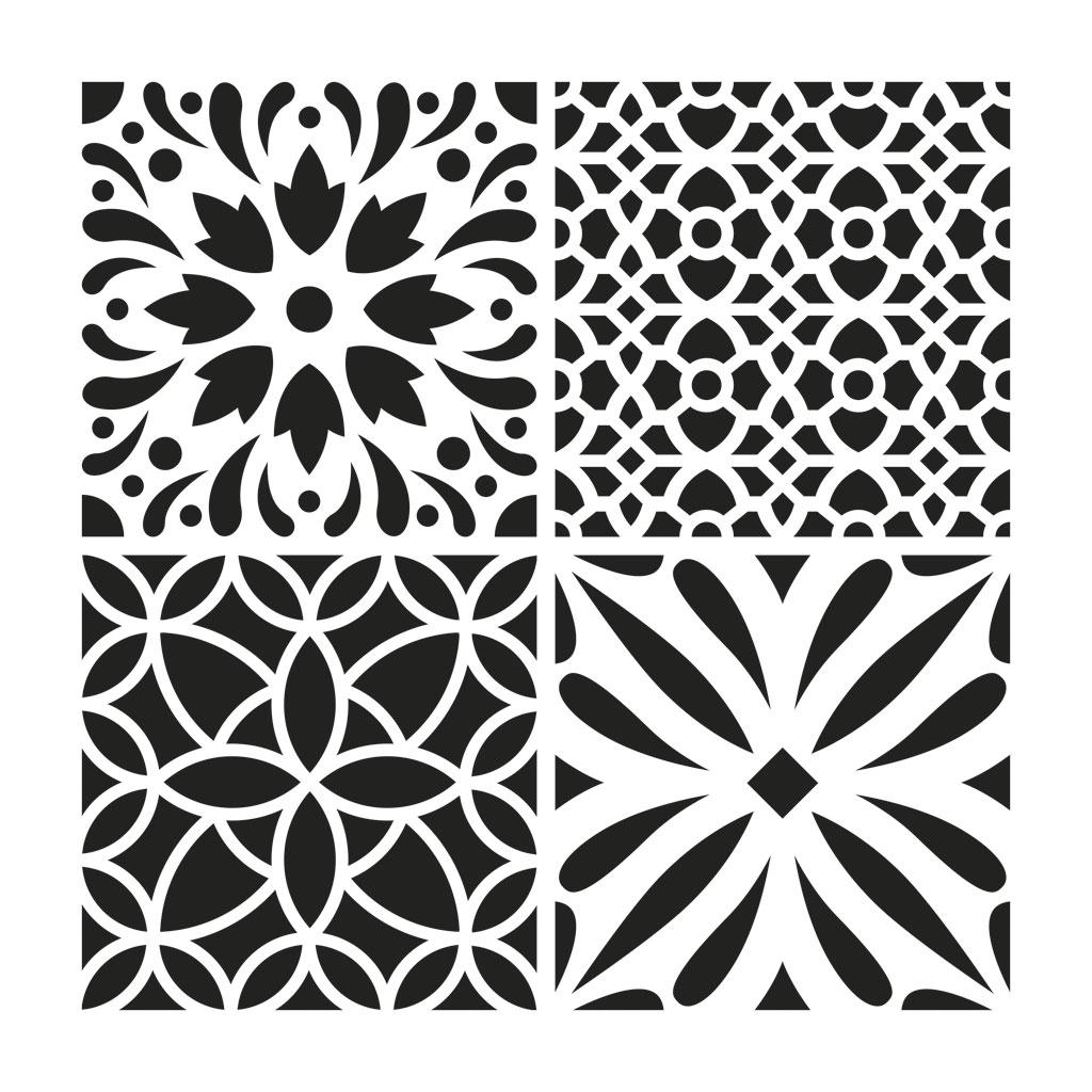 pochoir d coratif home deco 30x30 cm carreaux de ciment. Black Bedroom Furniture Sets. Home Design Ideas