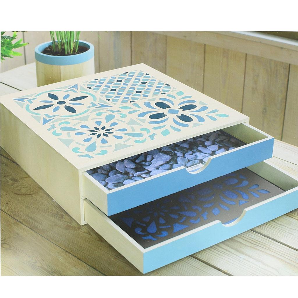 Pochoir Meuble Bois destiné pochoir décoratif home deco 30x30 cm carreaux de ciment modèle 1