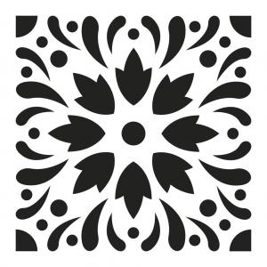 Pochoir Décoratif Home Deco 15x15 Cm Motif Carreaux De Ciment Modèle