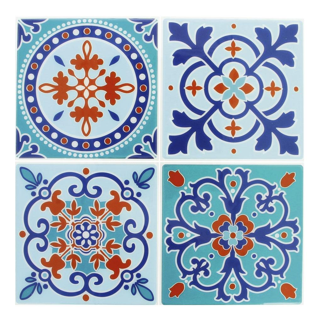 41 stickers deco Mosaïques 41x41cm style Azulejos/Carreaux de cimen ... - Carreaux De Ciment Bleu