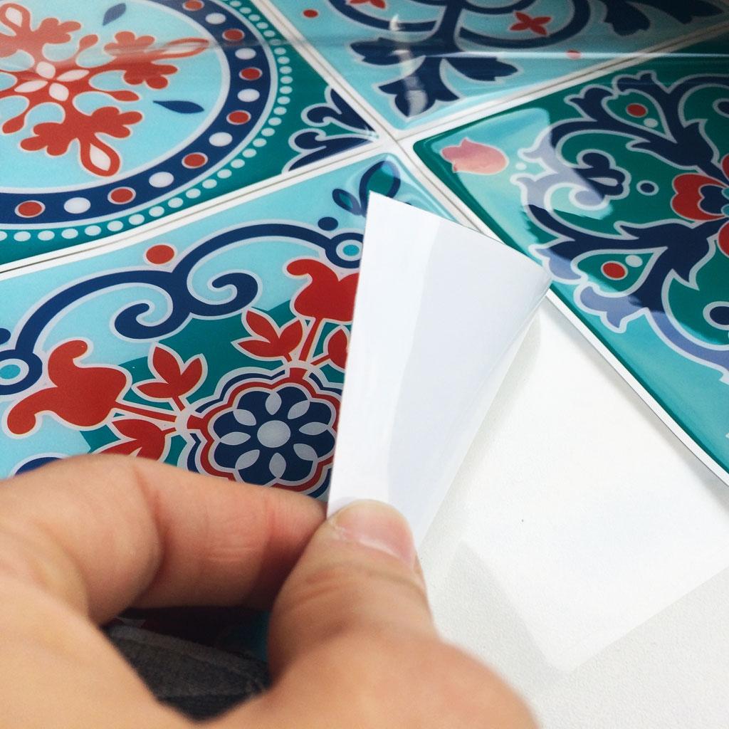 4 Stickers Deco Mosa Ques 12x12cm Style Azulejos Carreaux De Cimen
