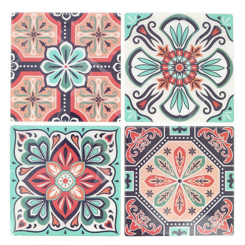Deco Imitation Carreaux De Ciment 4 stickers deco mosaïques 12x12cm style azulejos/carreaux de ciment mint