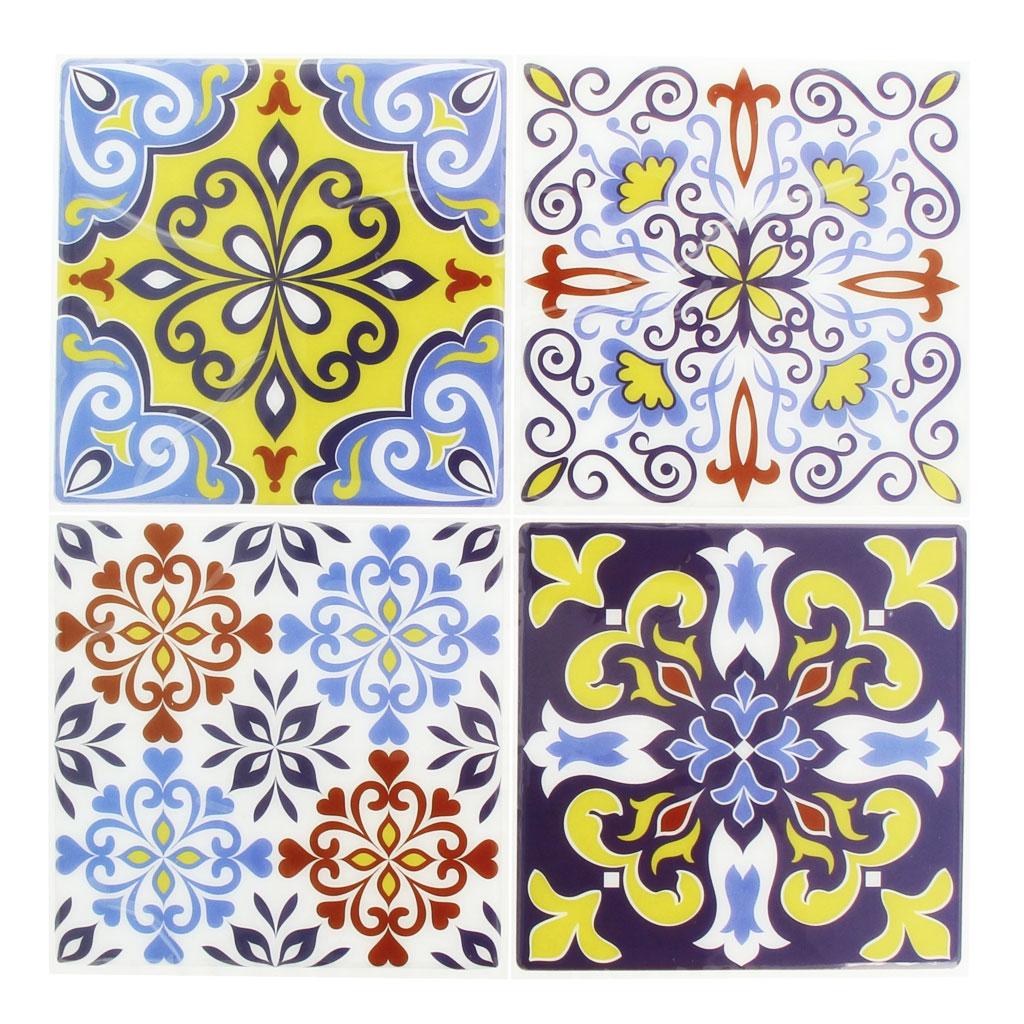 4 stickers deco mosa ques 12x12cm style azulejos carreaux de cimen perles co. Black Bedroom Furniture Sets. Home Design Ideas