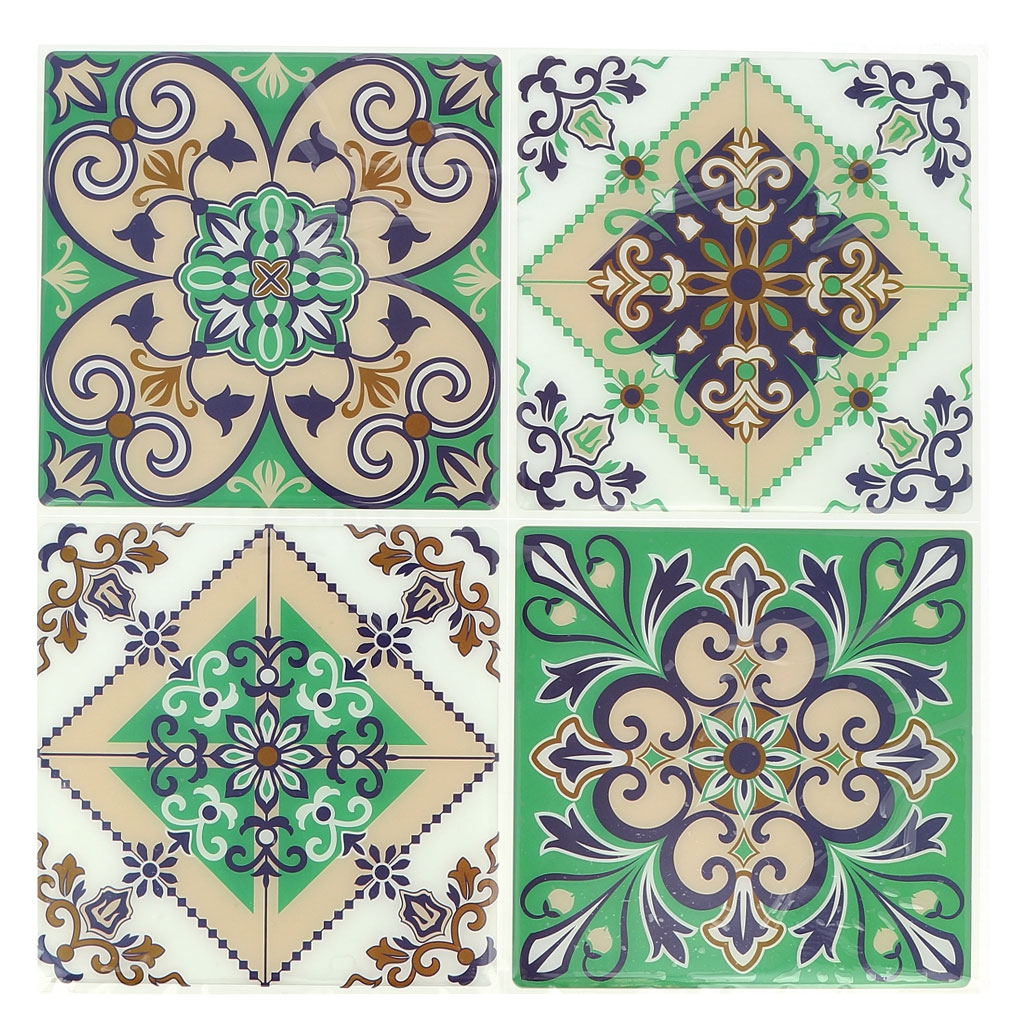 4 stickers deco mosa ques 12x12cm style azulejos carreaux de cimen perles co. Black Bedroom Furniture Sets. Home Design Ideas