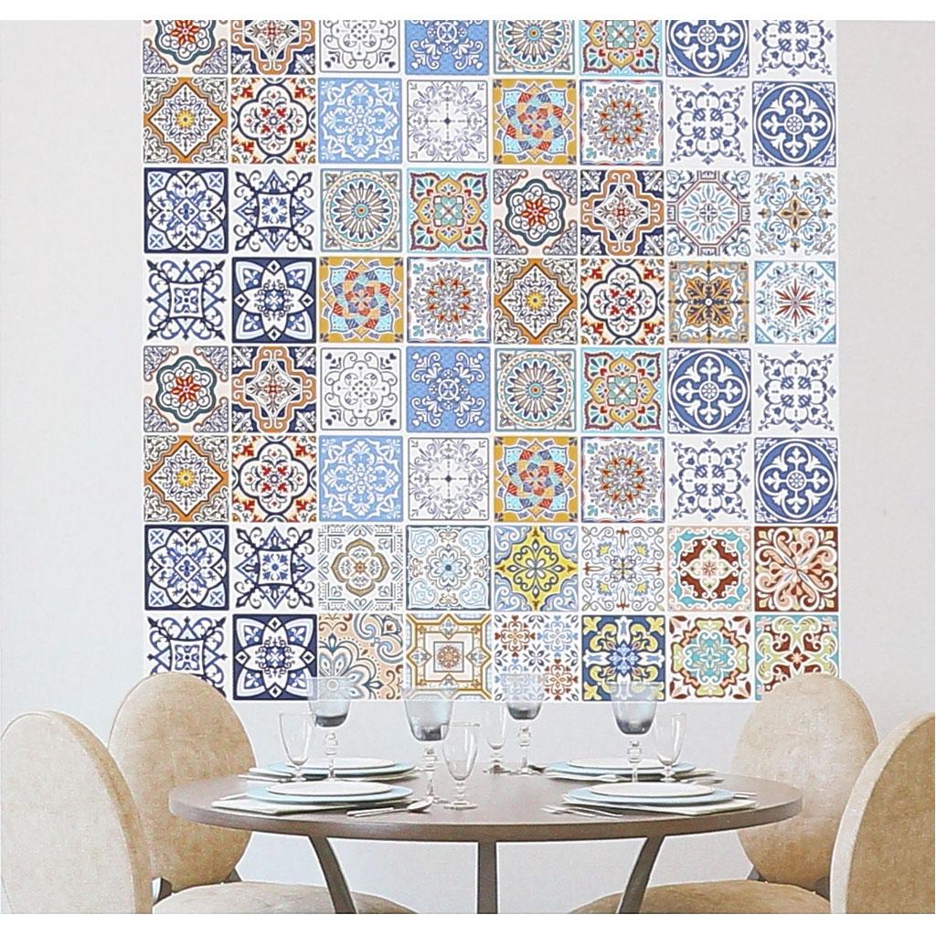 Deco Imitation Carreaux De Ciment 4 stickers deco mosaïques 12x12cm style azulejos/carreaux de ciment vert