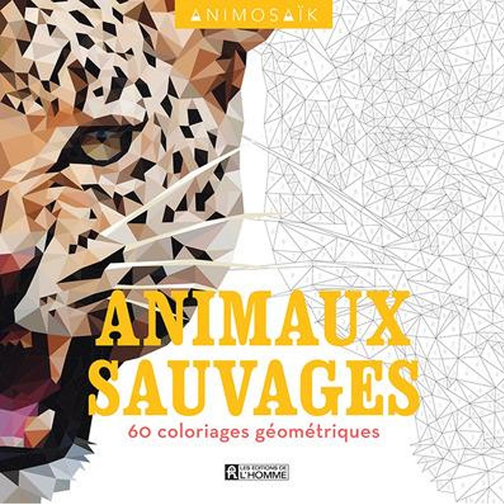 Animosa k animaux sauvages 60 coloriages g om triques - Coloriage animaux sauvages ...