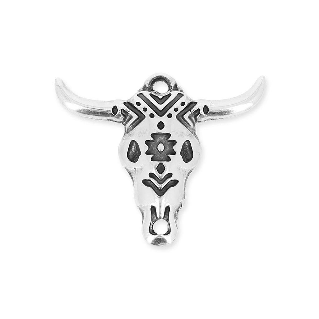 Connu Pendentif tête de taureau/crâne de buffle ethnique 26 mm argenté v  DO09