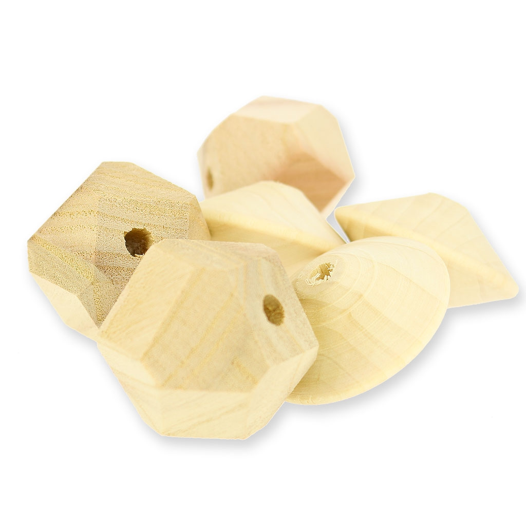 Lot de 3 grosses perles facettées en bois brut 45mm pour suspension  ~ Grosses Perles En Bois