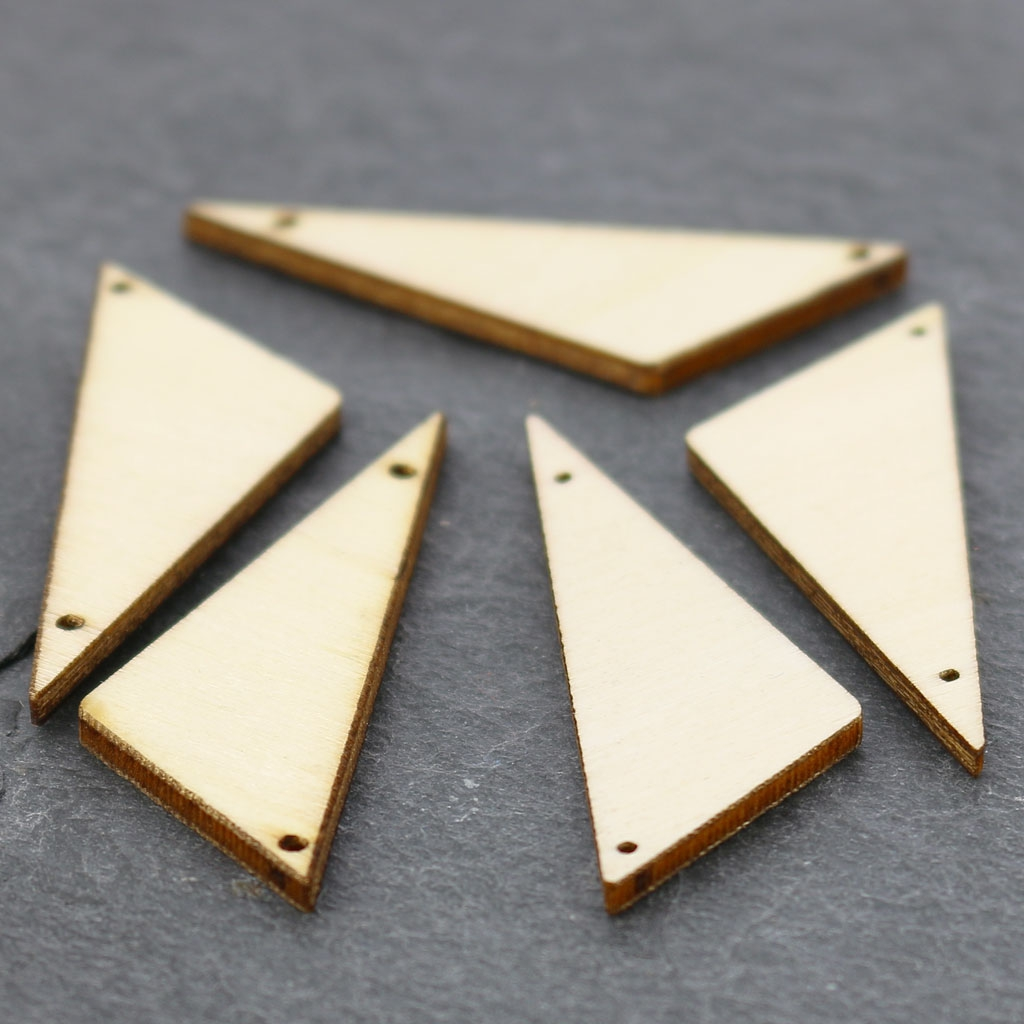 Customiser Boite En Bois intercalaire triangle 2 trous en bois brut à peindre ou customiser 40x18 mm