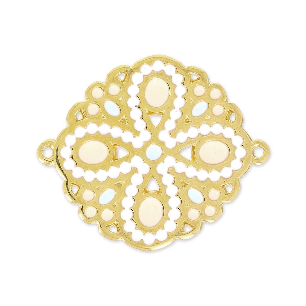 intercalaire fleur r sine poxy 2 anneaux 33 mm blanc rose pastel perles co. Black Bedroom Furniture Sets. Home Design Ideas