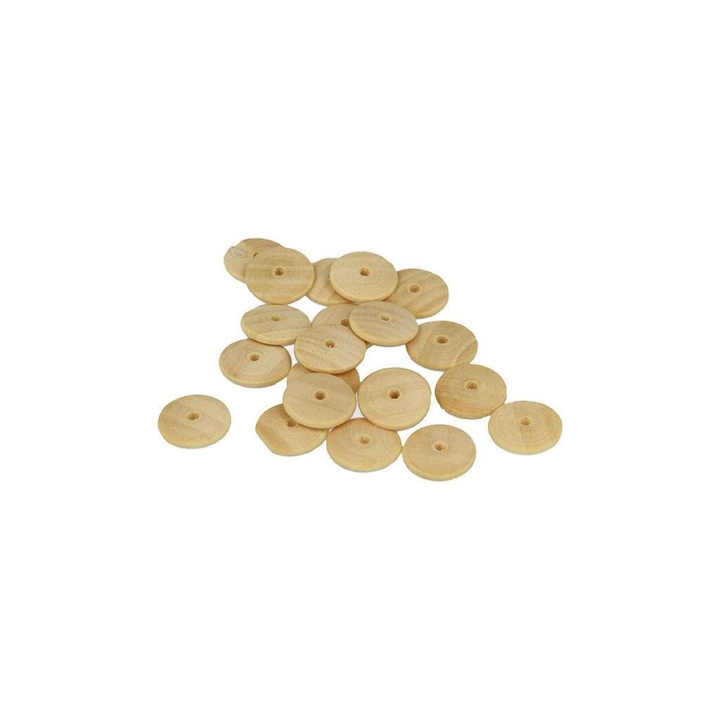 set de 35 perles pastilles en bois brut naturel 15 mm x1. Black Bedroom Furniture Sets. Home Design Ideas
