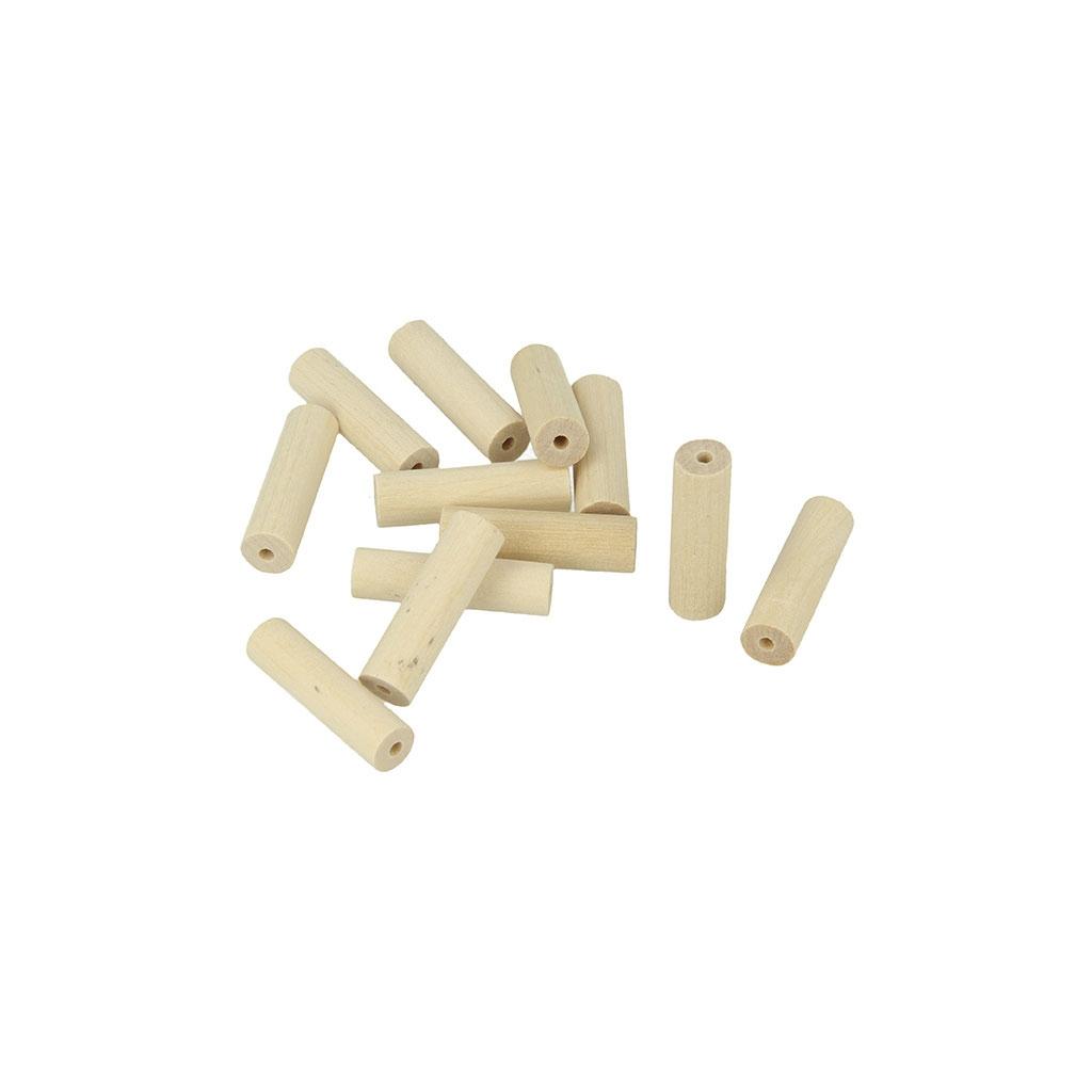 set de 15 perles cylindres en bois brut naturel 30x9 mm x1. Black Bedroom Furniture Sets. Home Design Ideas