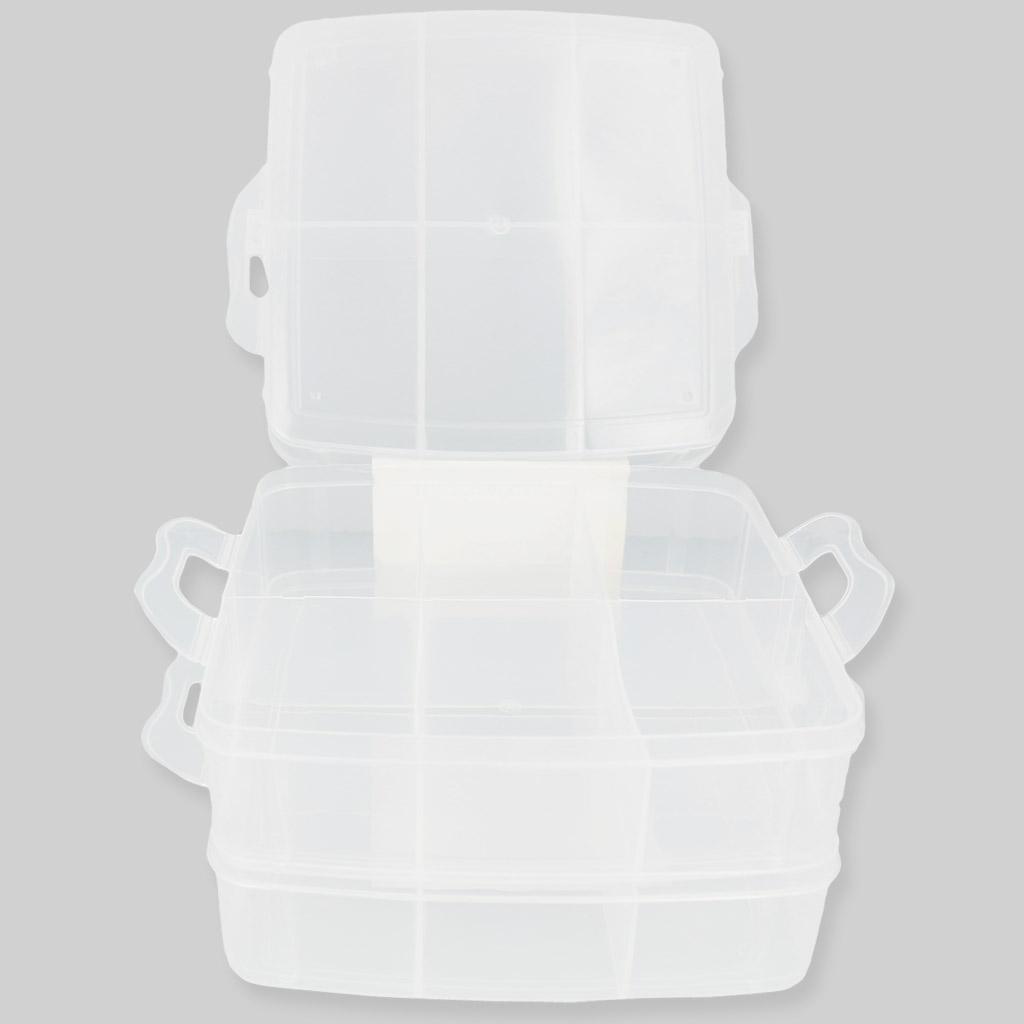 mallette de rangement pour loisirs cr atifs 3 niveaux 16x16x13 cm perles co. Black Bedroom Furniture Sets. Home Design Ideas