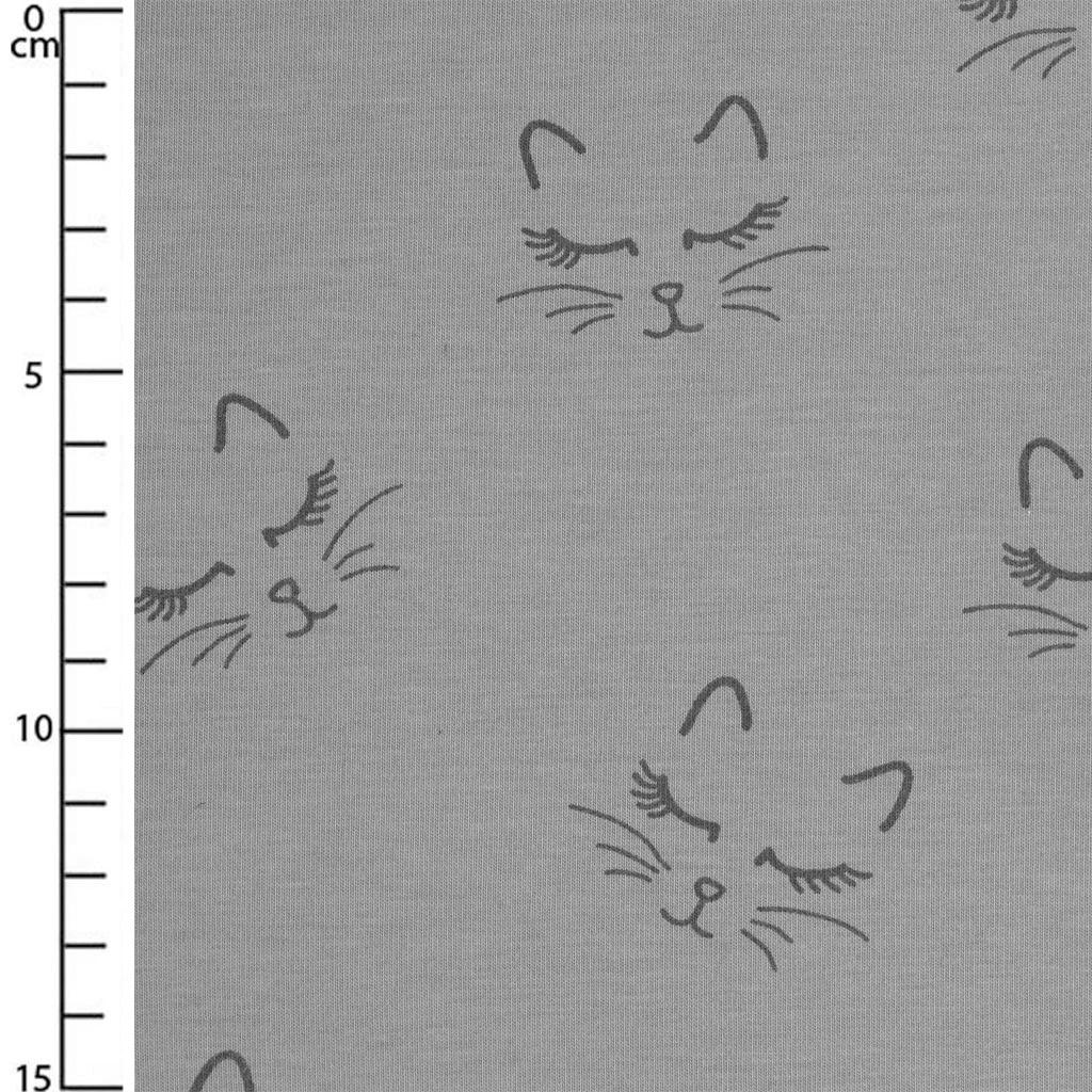tissu jersey pour enfants motif chaton gris et noir x10cm perles co. Black Bedroom Furniture Sets. Home Design Ideas