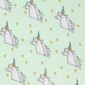 Tissu en coton enduit Magical  Summer - Licorne Mint/Multicolore/Doré x10cm