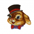 Ecusson Thermocollant Animaux funs 43 mm Lapin à chapeau Marron/Rougex1