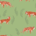 Tissu Dear Stella- Pura Vida Shirting - Fern Sleepy Tigers x10cm