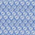 Tissu Clothworks -  Blue Porcelain - White Diamonds x10cm