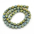 Perle en Hematite Tête de Bouddha 8x8x7 mm Light Green Metallic x1