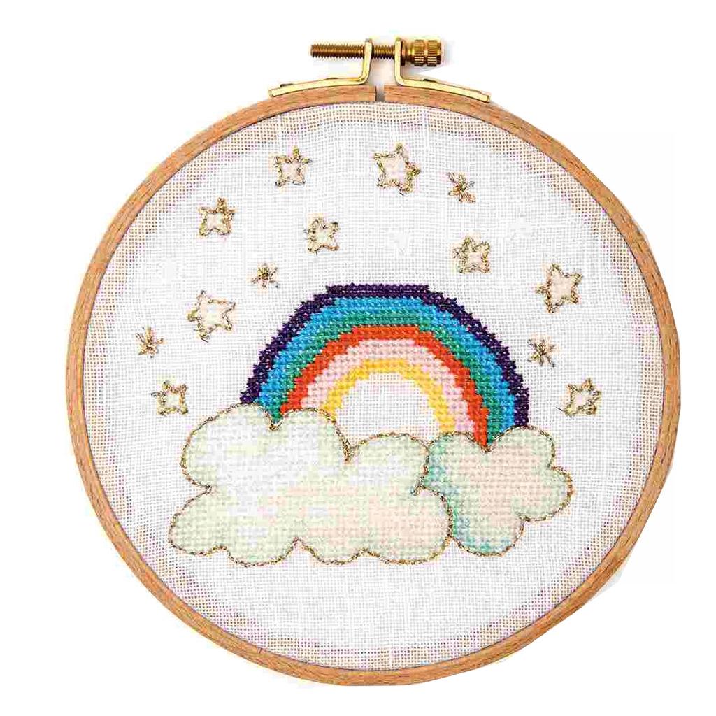 Kit de broderie point de croix compté 15.5 cm Arc-en-ciel - Perles & Co