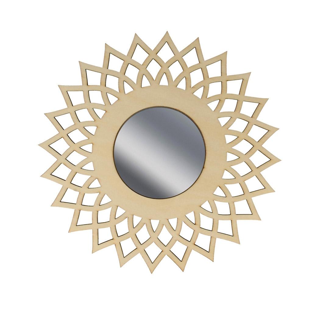 Miroir ajour en bois d corer 20 cm forme soleil for Miroir forme soleil
