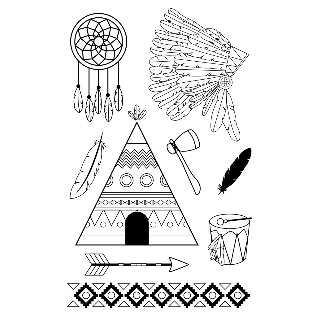 set de 9 tampons monter soi m me motif indien perles co. Black Bedroom Furniture Sets. Home Design Ideas