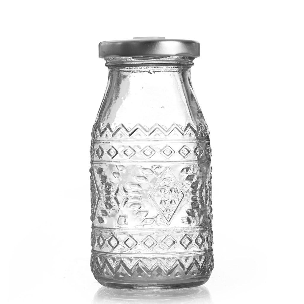 bouteille en verre 200 ml couvercle en m tal avec trou motifs perles co. Black Bedroom Furniture Sets. Home Design Ideas