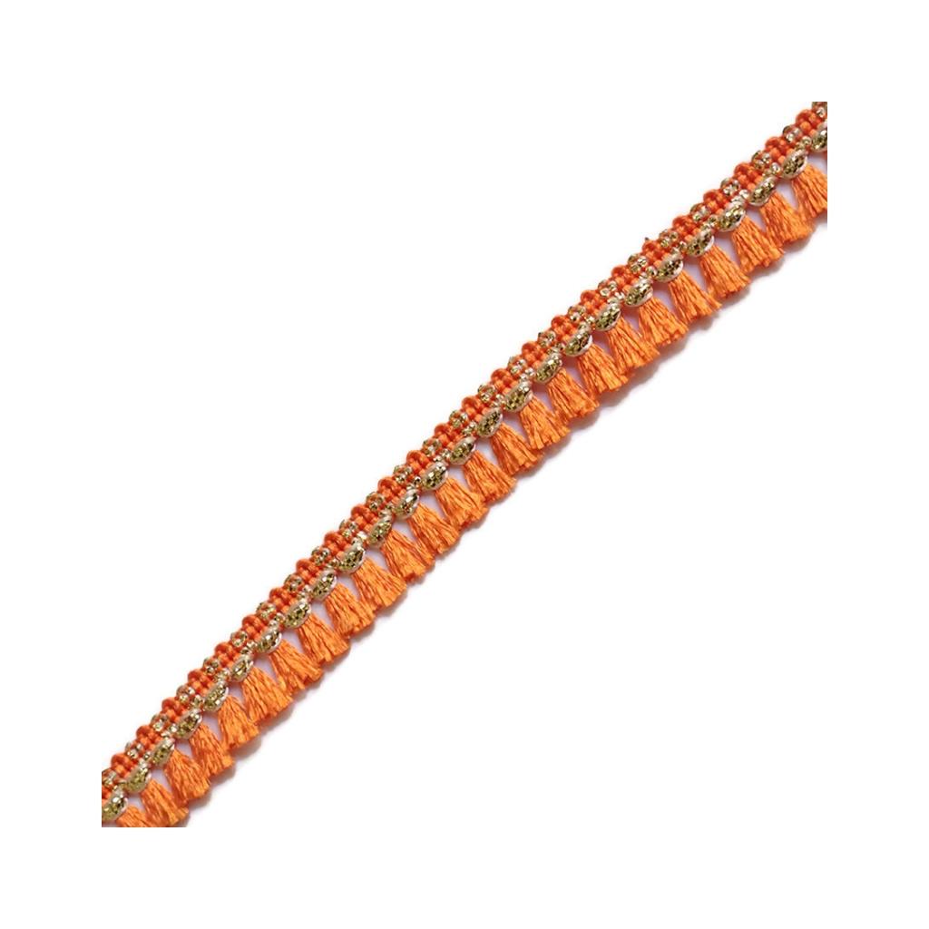 galon de petits pompons et pampilles frange 15 mm orange dor x1 perles co. Black Bedroom Furniture Sets. Home Design Ideas
