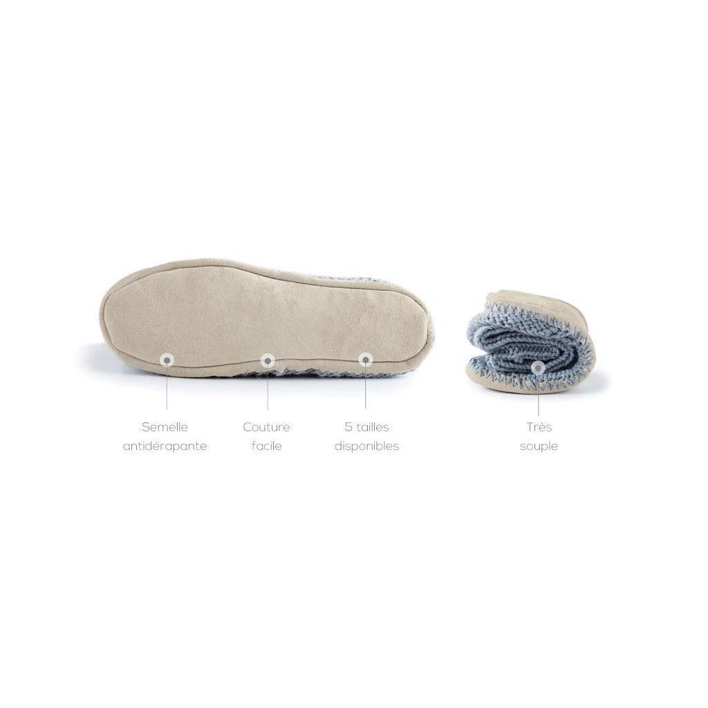38773201b5b50 ... Paire de semelles pour chaussons Phildar à customiser Taille 27-30  Croûte de cuir