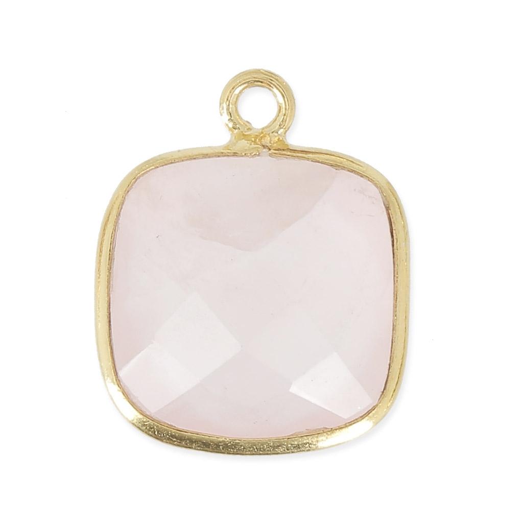 Pendentif pierre carré facettée 11 mm serti Argent 925 Plaqué Or  Quartz  rose x1 27c9220587f