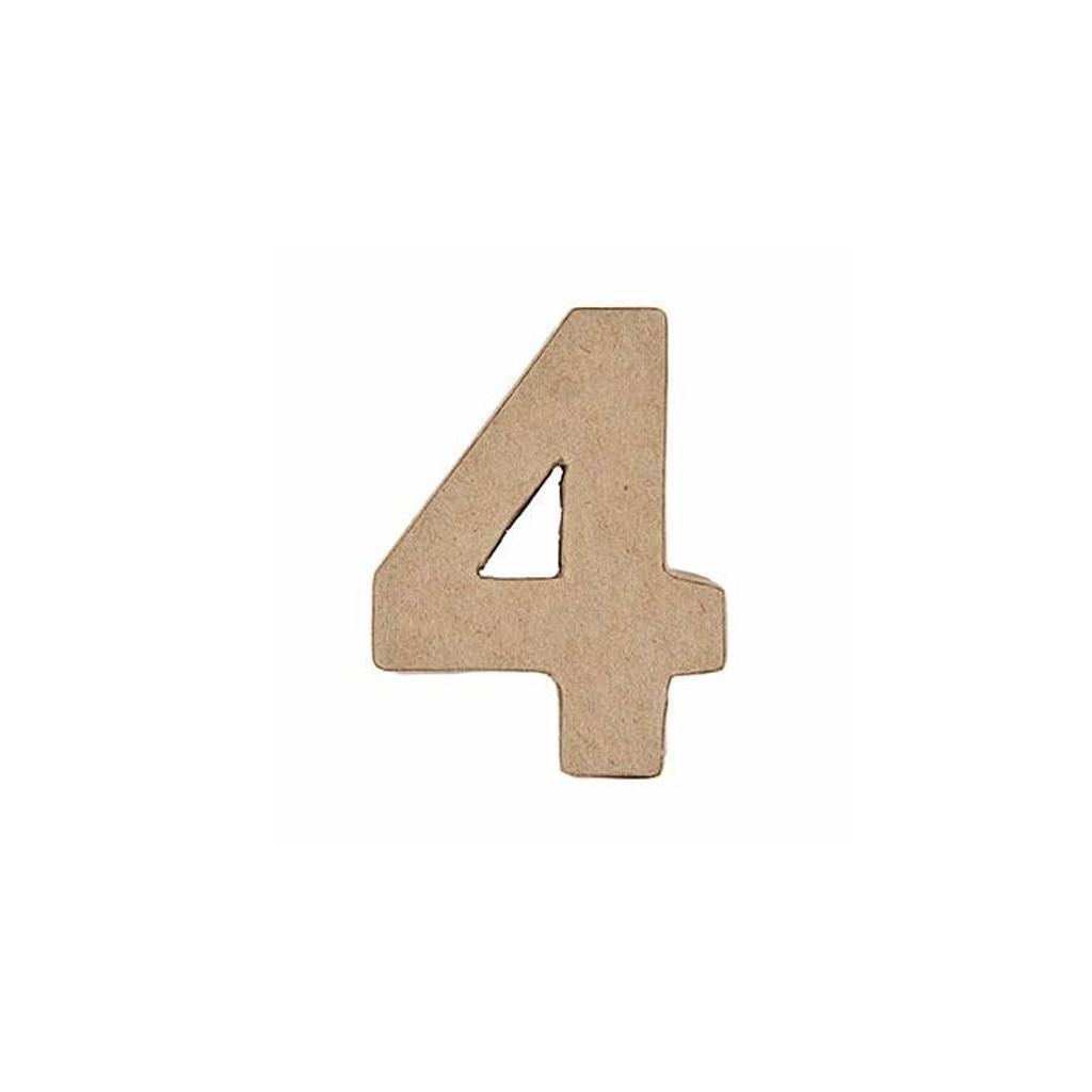 Grand chiffre 4 en papier m ch 17 5 x 12 5 cm poser et - Chiffre en carton 3d ...