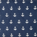 Tissu double gaze de coton Simple Simon & Co - Ancre Navy x10cm