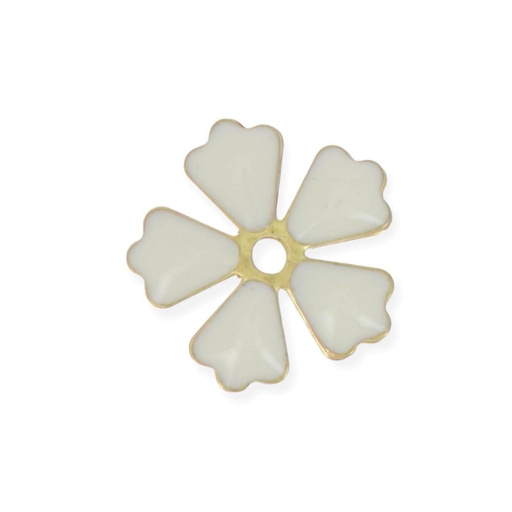 fleurs perc es en m tal et r sine poxy 15 mm blanc dor x 5 perles co. Black Bedroom Furniture Sets. Home Design Ideas